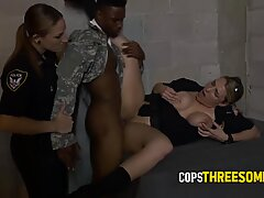 Fake soldier gets his cock pleased by perverted milf cops